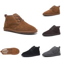 erkek kemeri ayakkabıları toptan satış-2020 Üst Kış Yün Ayakkabı Erkekler Çizmeler Neumel Süet Çizmeler erkek Klasik Çizmeler Newm Serisi Sapanlar Casual Sıcak Mini Boot Kestane Boyutu US35-US44