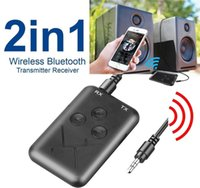 Wholesale 2 in Wireless Bluetooth Transmitter Receiver Stereo Audio Adapter BT V4 MP3 Digital MM Car Kits For TV Speaker Computer