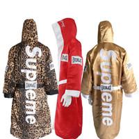 giyim üniformaları toptan satış-Klon Altın adam ve kadınlar için boks elbiseler yumuşak boks pelerin tekme kuru bornoz giyim üniformaları kaliteli Leopar Baskı Boks ...