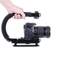 dslr stabilizatörler donanımı toptan satış-4-in-1 Smartphone + Eylem Kamera + Kamera + DSLR Kamera Sabitleyici C Şekli Rig Düşük Pozisyon Çekim Sistemi ile Uyumlu Nikon / Canon / Sony