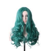 La parrucca verde delle donne di WoodFestival parrucca ondulata lunga dei  capelli ricci ha resistente la qualità sintetica di cosplay delle parrucche  di ... 14ca63bef90