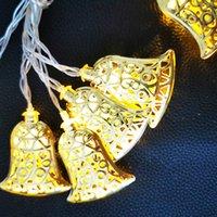 luzes de sino de natal ao ar livre venda por atacado-Led Jingle Bell Fada Corda Luzes Decorativas Bateria Operado De Natal Ao Ar Livre Pátio Garland Decoração Do Casamento