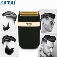 rasoir rechargeable usb achat en gros de-Kemei rasoir électrique pour hommes lame double étanche rasoir sans fil USB rechargeable rasage machine barber trimmer