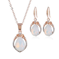 Discount opal drop earrings white gold Opal Necklace Earrings Jewelry Sets Rose Gold Color Natural Stone Water Drop Necklace Earring Set For Boho Jewelry Accessories Women
