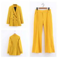 casacos de negócios amarelos das mulheres venda por atacado-Terno das mulheres 2 peça set (jaqueta + calça) das mulheres amarelo trespassado jaqueta com calças para senhoras ternos de negócio casual