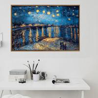 grandes pinturas de paisagem venda por atacado-Noite estrelado Van Gogh Óleo Pinturas Cópia da reprodução na lona Tamanho Grande Landscape Canvas Poster para sala de estar parede Cuadros