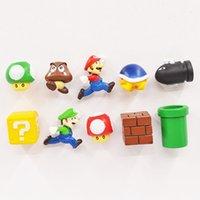 ímã novo do refrigerador venda por atacado-New 10pcs / Set 3D Super Mario Bros imã Frigorífico Nota Memo traseiro engraçado presente das crianças Brinquedos L555