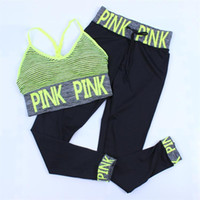 Wholesale yoga pants bras resale online - Women Sport Suit Sets Letter Print Tracksuits Two Piece Set Outfits Tracksuit Pink Sportswear Tracksuit Pattern Bra Ninth Pant color