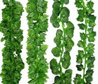 ingrosso artificial plants ivy-2.1M Artificiale Edera Verde Foglia Ghirlanda Piante Vine Fiori Fogliame Finto Home Decor Plastica Fiore Artificiale Corda In Rattan