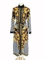 robes de mode europe xl achat en gros de-Europe et les États-Unis Afrique hot factory real shot numérique haut de gamme mode imprimé rayé chemise longue robe femme
