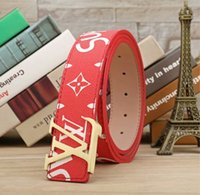 Wholesale belts brand names for sale - Group buy Brand name belt brand name men s leather belt luxury LAbrand LA1 high quality leather red sup famous designer belts metal buckle ceinture