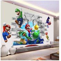 garçons stickers muraux chambres d'enfants achat en gros de-Super Mario Bros Enfants Amovible Mur Autocollant Stickers Pépinière Décor À La Maison Murale pour Garçon Chambre Salon Murale Art
