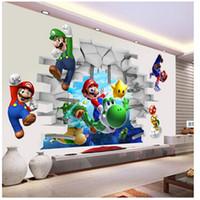 sala de mario al por mayor-Super Mario Bros Kids etiqueta de la pared extraíble calcomanías vivero decoración del hogar mural para niño dormitorio sala de estar mural arte