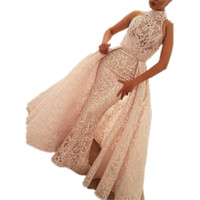 Wholesale detachable train quinceanera dresses for sale - Group buy Glamorous Pink Evening Dresses High Neck Beads Lace Appliques Sashes Detachable Train Tulle Satin Prom Dresses Quinceanera Dresses Hot Sale