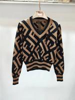 suéter de lunares negro al por mayor-Otoño e invierno, camiseta doble de manga larga, modelo FF, melocotón, cuello en V, manga larga