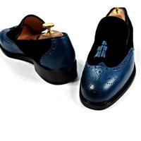 robe slip slip achat en gros de-Chaussures habillées pour hommes Mocassins chaussure Fait à la main Chaussons respirants Glands Slip-on Black Suede / Navy Correspondant au cuir de veau véritable LF-S023