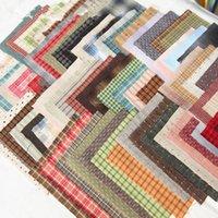 telas de hilo teñido al por mayor-Hilo teñido de tela de algodón japonés Patchwork monedero acolchado artesanal paquetes de tela apliques costura 24 * 34 cm elegir color