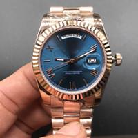 marcas relógio mecânico preço venda por atacado-Marcas de luxo Top Assista Dial Azul DAY / DATE Relógios de ouro rosa de aço inoxidável Menor Preço Mens Womens relógio de pulso mecânico automático 36 milímetros