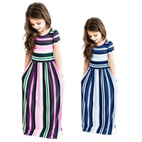 uzun yaz şeritli elbise toptan satış-Bebek Kızlar Uzun Elbise Renk Çizgili Tunik Maxi Elbiseler Kısa Kollu prenses Elbise Yaz Bohemian Plaj Elbiseleri Çocuk Giysileri hediye sıcak C3212