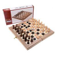 conjuntos de xadrez de madeira venda por atacado-Jogo de Xadrez de madeira Damas Gamão 3 em 1 Viagem Internacional Jogo de Xadrez Madeira Peças de Xadrez Dobrável Tabuleiro de Xadrez
