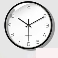 Wholesale white digital wall clock resale online - 12 American Silent Bedroom Wall Clock Modern Design Creative White Kitchen Wall Clock Brief Living Room Digital Watch