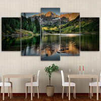 современные рамки для масляной живописи оптовых-Modular Pictures Home Wall Frame Modern Poster HD Printed 5 Pieces Canvas Art Colorado Ozero Mountain Decor Oil Painting PENGDA