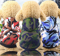 Wholesale dog hat large resale online - New Fashion Pet Dog Puppy Costumes Camo Hoodies Hooded Sweatshirt Pullover Clothes Outfits Size XS XL