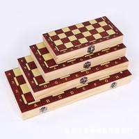 jogo de xadrez para crianças venda por atacado-Venda imperdível! Tamanho grande 3-em-1 função de alta qualidade de madeira internacional jogo de tabuleiro de xadrez conjunto de tabuleiro dobrável portátil caçoa o presente