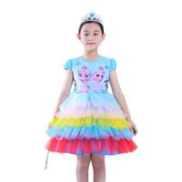 Wholesale princess dress cupcakes resale online - Frozen Aisha Princess Mesh Tutu Party Girls Cupcake Dress Halloween Kid Clothes Carnival Cartoon Role Play Prom Gown Costume