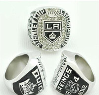 Wholesale real world resale online - real fine Ice Hockey LA Kings Zinc Alloy silver plated Men World Championship Ring Men rings