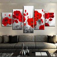cartazes românticos do quarto venda por atacado-Lona Impressa Fotos Living Room Wall Art unframework 5 Peças Romântico Papoilas Pinturas Flores Vermelhas Poster Modular Casa Decoração