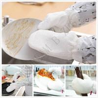 guantes impermeables para lavar platos al por mayor-PC 1 resuable guantes de limpieza del depurador Guantes de limpieza natural de fibra de bambú Impermeable No -dip Guantes de aceite para lavar vajilla Herramientas de limpieza