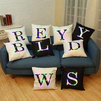 красочные чехлы стульев оптовых-Светодиодные светящиеся буквы подушка с красочными чехлы декор для дома диван стул Рождественская мода горячий подарок QQA37