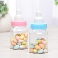 Wholesale baby bottle candy resale online - Cute Transparent Feeding Bottle Design Baby Shower Favor Holders Birthday Party Candy Bottle Candy Boxes LX1464