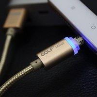 precio del cable led al por mayor-Precio de fábrica venta caliente Golf 2.1A Cable de carga rápido LED Luz Metal USB Cable Aluminio para iPhones CARGAS
