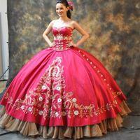vestidos de quinceañera de comprimento curto venda por atacado-Vestido De Baile De Meninas Quinceanera Vestidos Querida Luxo Bordado De Ouro Plissados Até O Chão Comprimento Casamento