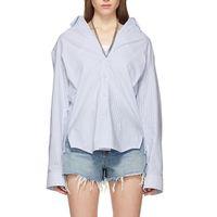 nakışlı gömlek bluz toptan satış-2019 Bahar Streetwear Metal Kolye Kişilik Bluz Çizgili Işlemeli Turn-down Yaka Kadın Gömlek Yeni Gevşek Üst