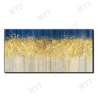 ingrosso incorniciato paesaggio di pittura ad olio grande-Dipinti a mano paesaggio alberi d'oro, dipinti ad olio di grandi dimensioni arte astratta senza cornici J190707