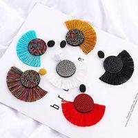 Wholesale fan shaped charms resale online - Women Temperament Jewelry Trendy Bohemian Statement Tassel Earrings Styles Fan Shaped Handmade Charms Earrings M002F
