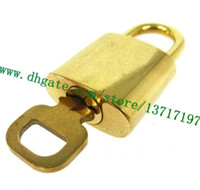 Top Grade Bag Parts One Set Lock & Key Brass Gold tone For Speeedy Allma Keapall Rolling Luggage Suitcase Duffle Padlock