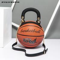 saco de couro engraçado venda por atacado-ZURICHOUSE 2019 Forma Womens hangbags criativa engraçado Basquete ombro Rodada Bag Ladies Alta Qualidade PU Leather Messenger Bags