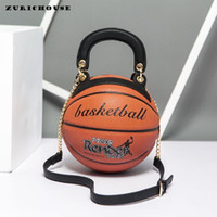 Wholesale round cell phones online – ZURICHOUSE Womens Hangbags Creative Funny Basketball Shape Round Bag Ladies High Quality PU Leather Shoulder Messenger Bags