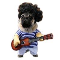 komik süslü kıyafet kostümleri toptan satış-Köpek Gitar Giyim Kostüm Fantezi Elbise Cadılar Bayramı Komik Giyim Parti Yaratıcı köpek hediye Kumaş Pet Noel Hediye Dekorasyon
