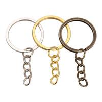 ingrosso pezzi chiave-pezzi di monili Accessories100 / Key Chain sacco 28 millimetri Portachiavi Bronzo Rodio Oro Colore lungo rotonda Spalato Portachiavi Portachiavi monili che fanno all'ingrosso