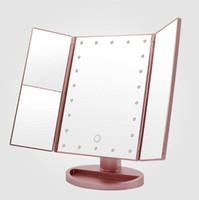 косметическое складное зеркало оптовых-Складные увеличительные зеркала 3X/2X/1X настольные зеркала для макияжа LED зеркало для тщеславия 3 складной регулируемый косметический инструмент