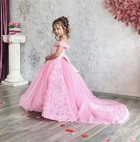 Wholesale orange purple wedding gowns resale online - New Arrival Blush Pink Flower Girl Dress Cute D Flowers Princess Party Gown Luxury Ball Gown Girl Formal Wedding Pageat Dresses
