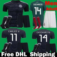 uniformes de futbol mexico al por mayor-2019 Gold Cup Mexico Soccer Jerseys Juego de uniformes Negro 19 20 Camisetas Mejico Hombres Adulto CHICHARITO LOZANO CARLOS Kits Kits de fútbol DHL Barco
