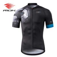 siyah mavi bisiklet formaları toptan satış-Rion Bisiklet Likra Erkekler Kısa Anti-kırışıklık Formalar Cepler Yaz Sonbahar Tam Fermuar Spor Giyim Siyah Mavi Marka Tasarım Tops
