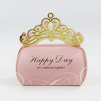Wholesale crown home for sale - Group buy Home Garden Bronzing Crown Favor Candy Box for Wedding Party Birthday Engagement Candy Boxes Chocolate Gift Packaging Box