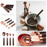 Wholesale rose gold handles for sale - Group buy Rose gold measuring spoon set with pieces log handle measuring spoon set with Measuring Tools baking tool T2I5067